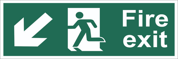 Fire Exit Running Man Arrow Bottom Left Corner Sign, Self Adhesive Vinyl