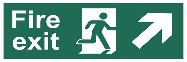 Fire Exit Running Man Arrow Top Right Corner Sign, Self Adhesive Vinyl