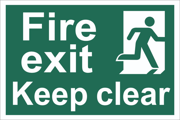 Fire Exit Keep Clear Running Man Sign , Self Adhesive Vinyl, 1mm PVC,