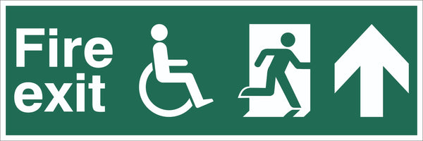 Fire Exit Wheelchair Running Man Arrow Up Sign, Self Adhesive Vinyl, 1mm PVC,