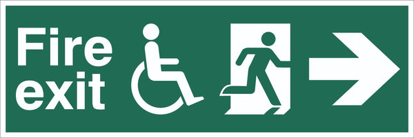 Fire Exit Wheelchair Running Man Arrow Right Sign, Self Adhesive Vinyl,