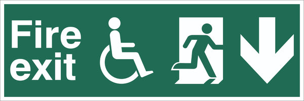 Fire Exit Wheelchair Running Man Arrow Down Sign, Self Adhesive Vinyl, 1mm PVC,