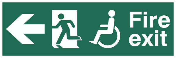 Fire Exit Wheelchair Running Man Arrow Left Sign, Self Adhesive Vinyl, 1mm PVC,