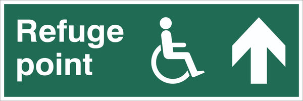 Refuge Point Wheelchair Arrow Up Sign, Self Adhesive Vinyl, 1mm PVC,