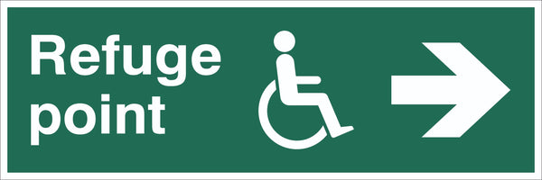 Refuge Point Wheelchair Arrow Right Sign, Self Adhesive Vinyl, 1mm PVC,