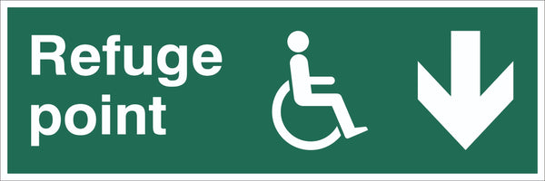 Refuge Point Wheelchair Arrow Down Sign, Self Adhesive Vinyl, 1mm PVC,