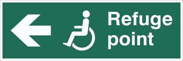 Refuge Point Wheelchair Arrow Left Sign, Self Adhesive Vinyl, 1mm PVC,