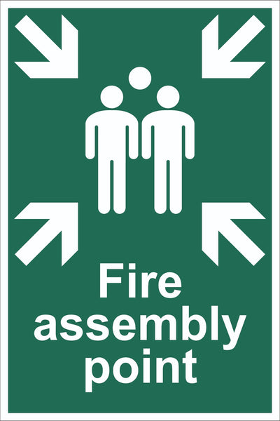 Fire Assembly Point With Family Sign, Self Adhesive Vinyl, 1mm PVC,