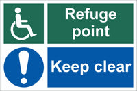 Fefuge Point Wheelchair Keep Clear Sign, Self Adhesive Vinyl, 1mm PVC,