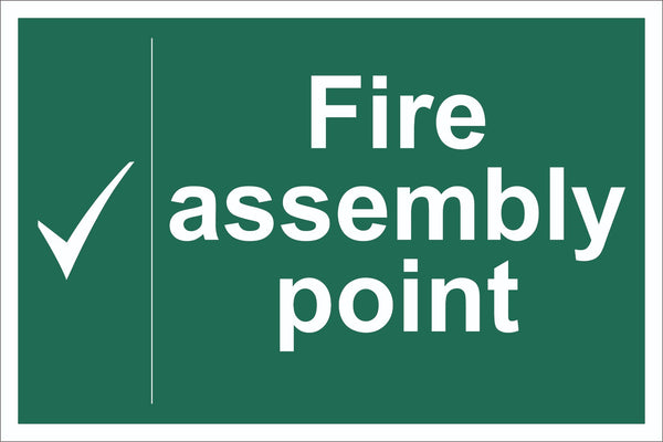 Fire Assembly Point Tick Sign, Self Adhesive Vinyl, 1mm PVC, 5mm Correx Board