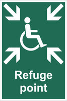 Refuge Point Wheelchair Sign, Self Adhesive Vinyl, 1mm PVC, 5mm Correx Board