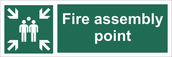 Fire Assembly Point Family Sign, Self Adhesive Vinyl, 1mm PVC, 5mm Correx Board