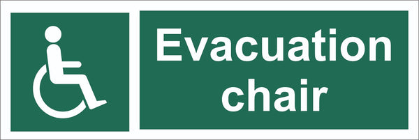 Evacuation Chair Sign, Self Adhesive Vinyl, 1mm PVC, 5mm Correx Board