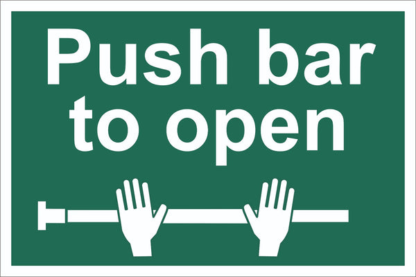 Push Bar To Open Two Hands Sign, Self Adhesive Vinyl, 1mm PVC, 5mm Correx Board