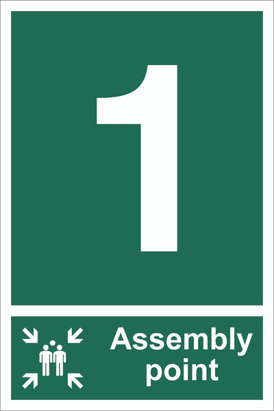 No 1 Assembly Point With Family Sign, Self Adhesive Vinyl, 1mm PVC,