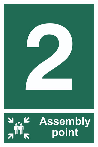 No 2 Assembly Point With Family Sign, Self Adhesive Vinyl, 1mm PVC,