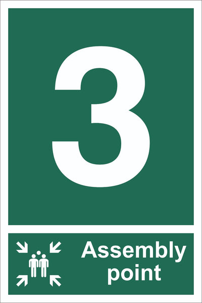 No 3 Assembly Point With Family Sign, Self Adhesive Vinyl, 1mm PVC,