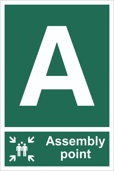 Letter A Assembly Point With Family Sign, Self Adhesive Vinyl, 1mm PVC,