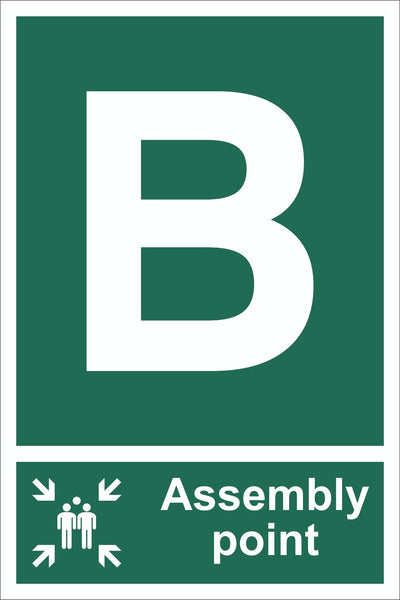 Letter B Assembly Point With Family Sign, Self Adhesive Vinyl, 1mm PVC,