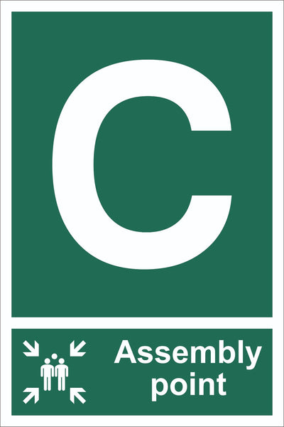 Letter C Assembly Point With Family Sign, Self Adhesive Vinyl, 1mm PVC,