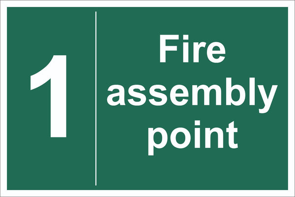 No 1 Fire Assembly Point Sign, Self Adhesive Vinyl, 1mm PVC, 5mm Correx Board