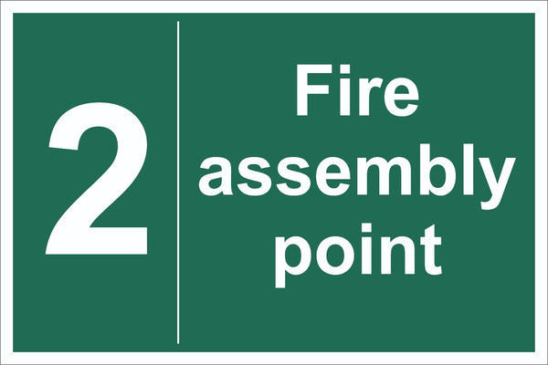 No 2 Fire Assembly Point Sign, Self Adhesive Vinyl, 1mm PVC, 5mm Correx Board