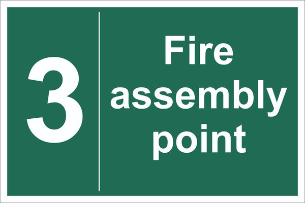 No 3 Fire Assembly Point Sign, Self Adhesive Vinyl, 1mm PVC, 5mm Correx Board