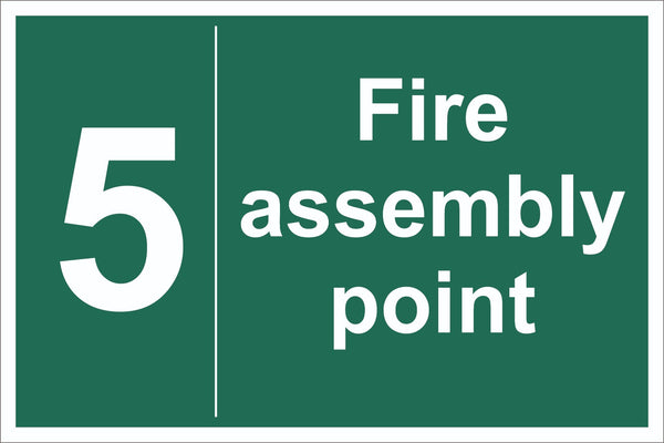No 5 Fire Assembly Point Sign, Self Adhesive Vinyl, 1mm PVC, 5mm Correx Board