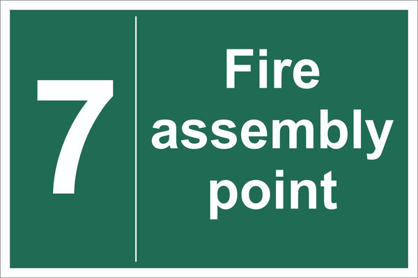 No 7 Fire Assembly Point Sign, Self Adhesive Vinyl, 1mm PVC, 5mm Correx Board