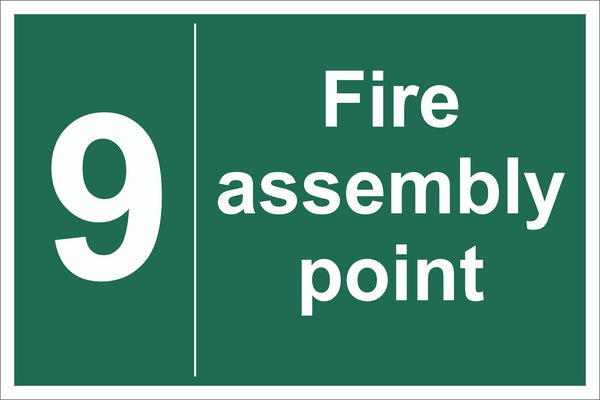 No 9 Fire Assembly Point Sign, Self Adhesive Vinyl, 1mm PVC, 5mm Correx Board