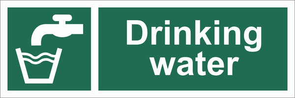 Drinking Water Sign, Self Adhesive Vinyl, 1mm PVC, 5mm Correx Board