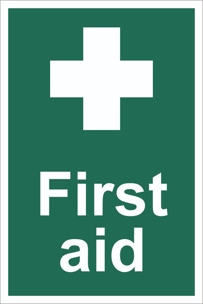 First Aid Sign, Self Adhesive Vinyl, 1mm PVC, 5mm Correx Board