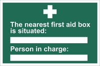 First Aid The NearestFirst Aid Box Sign, Self Adhesive Vinyl, 1mm PVC,