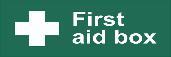 First Aid Box Sign, Self Adhesive Vinyl, 1mm PVC, 5mm Correx Board