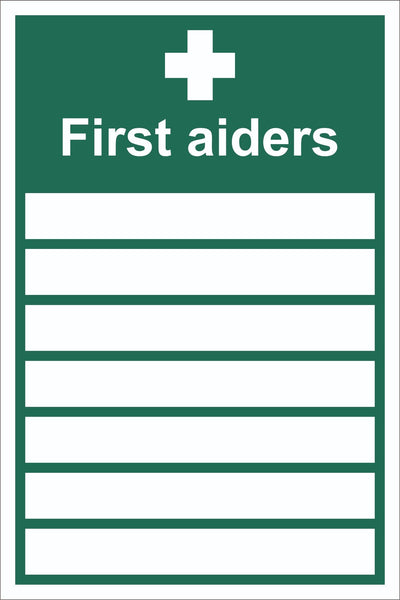 First Aiders Blanks Sign, Self Adhesive Vinyl, 1mm PVC, 5mm Correx Board