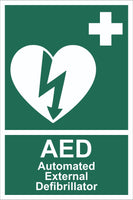 First Aid AED Automated External Defibrillator Sign, Self Adhesive Vinyl,