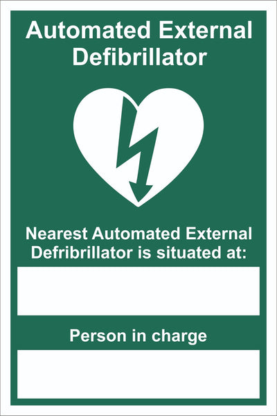 Automated External Defibrillator Located At Sign, Self Adhesive Vinyl, 1mm PVC,