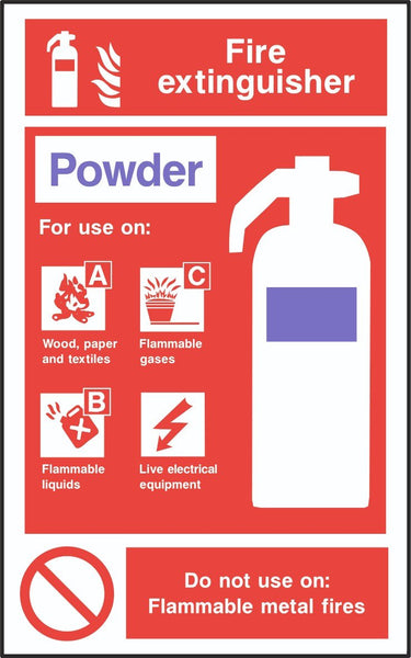 Fire Extinguisher Powder Sign, Self Adhesive Vinyl, 1mm PVC,