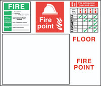 Fire Instruction Fire Point Extinguisher Floor Plan sign, Self Adhesive Vinyl,