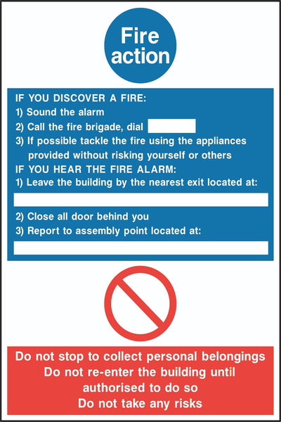 Fire Action Sign, Self Adhesive Vinyl, 1mm PVC, 5mm Correx Board