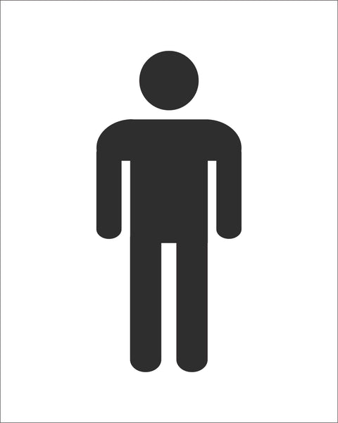 Male Toilet Symbol Sign, Self Adhesive Vinyl, 1mm PVC, 5mm Correx Board