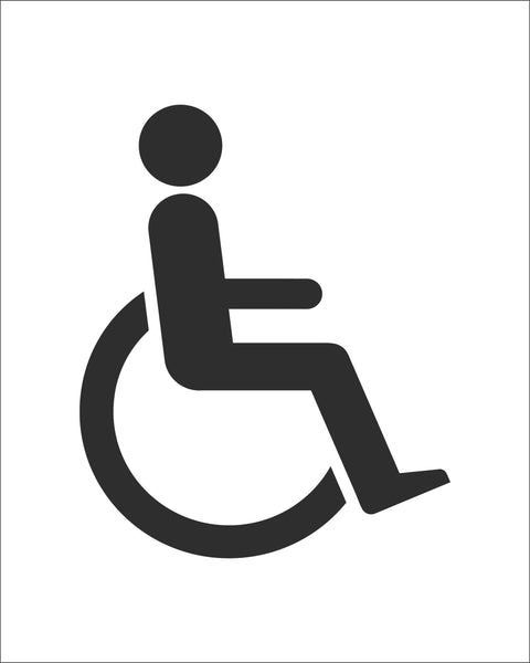 Accessible Toilet Symbol Sign, Self Adhesive Vinyl, 1mm PVC, 5mm Correx Board