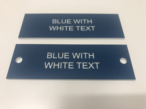 Engraved Acrylic Labels, BLUE with WHITE TEXT, Multiple Sizes and Options