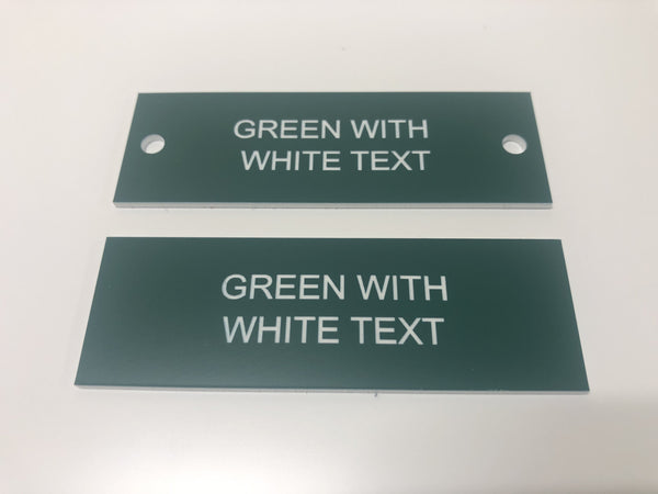Engraved Acrylic Labels, GREEN with BLACK TEXT, Multiple Sizes and Options