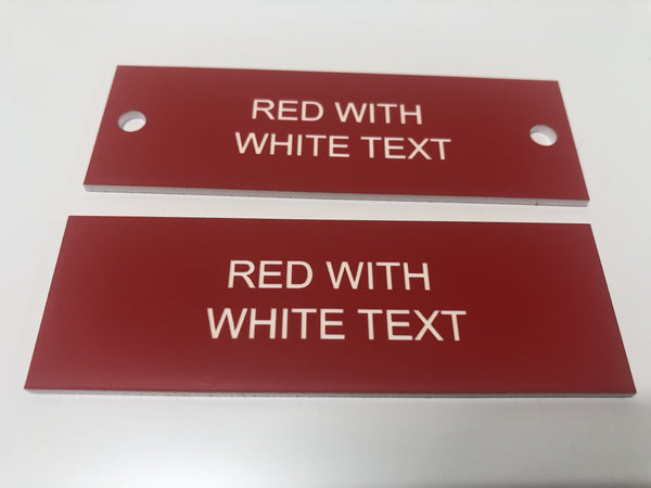 Engraved Acrylic Labels, RED with WHITE TEXT, Multiple Sizes and Options