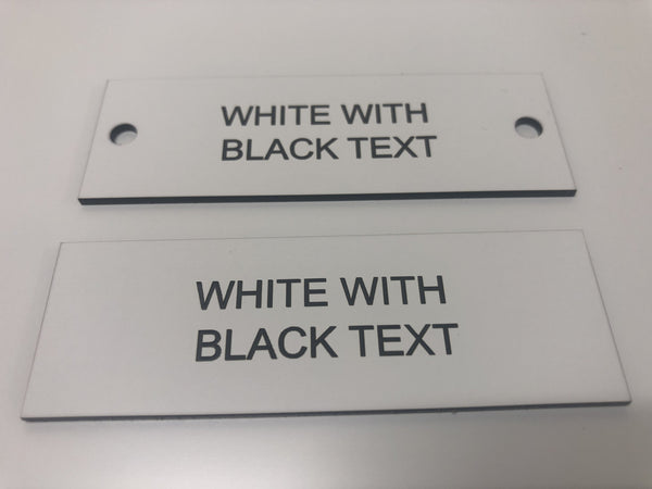 Engraved Acrylic Labels, WHITE with BLACK TEXT, Multiple Sizes and Options