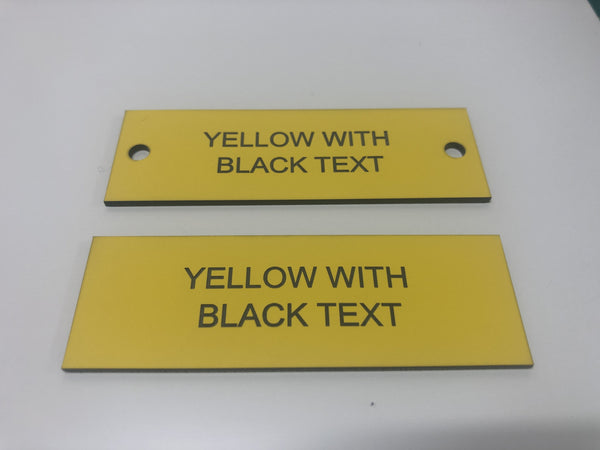 Engraved Acrylic Labels, YELLOW with BLACK TEXT, Multiple Sizes and Options