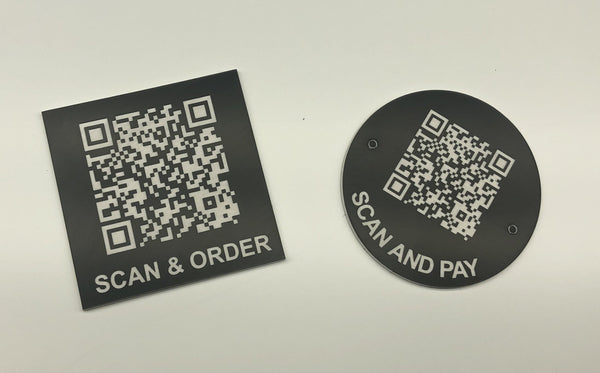Engraved QR TABLE DISCS, BLACK with WHITE TEXT, Multiple Sizes and Options
