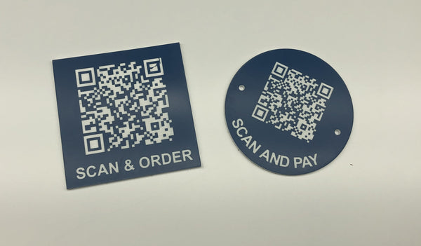 Engraved QR TABLE DISCS, BLUE with WHITE TEXT, Multiple Sizes and Options