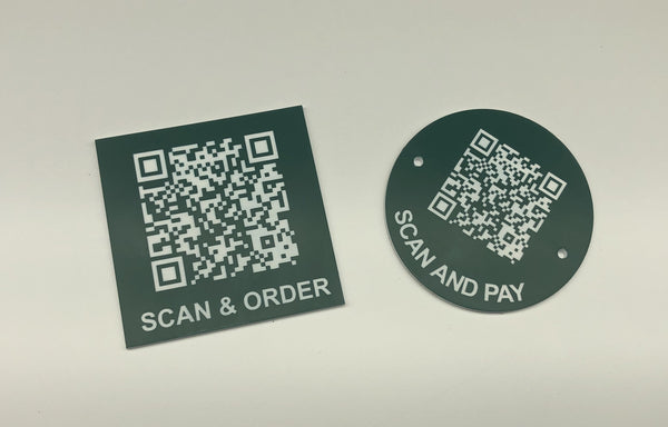 Engraved QR TABLE DISCS, GREEN with WHITE TEXT, Multiple Sizes and Options